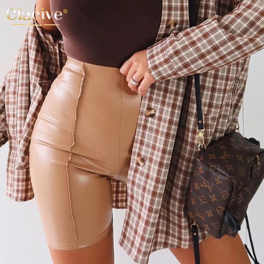 Clacive Spring Khaki Pu Leather Shorts Women 2021 Fashion Elastic High Waist Ladies Shorts Casual Slim Gym Fitness Booty Shorts