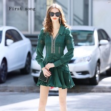 Tight French Elegant retro Hollow out Women's Lace Sexy Dress