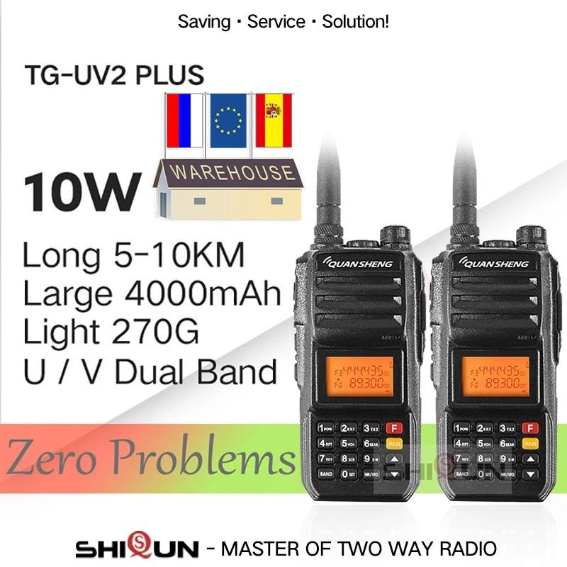 Super 2PCS QuanSheng TG-UV2 Plus 10W Long Range Talkie Walkie 10KM 4000mah Ham Radio 10 KM Vhf Uhf Dual Band Ham Radio 10watts