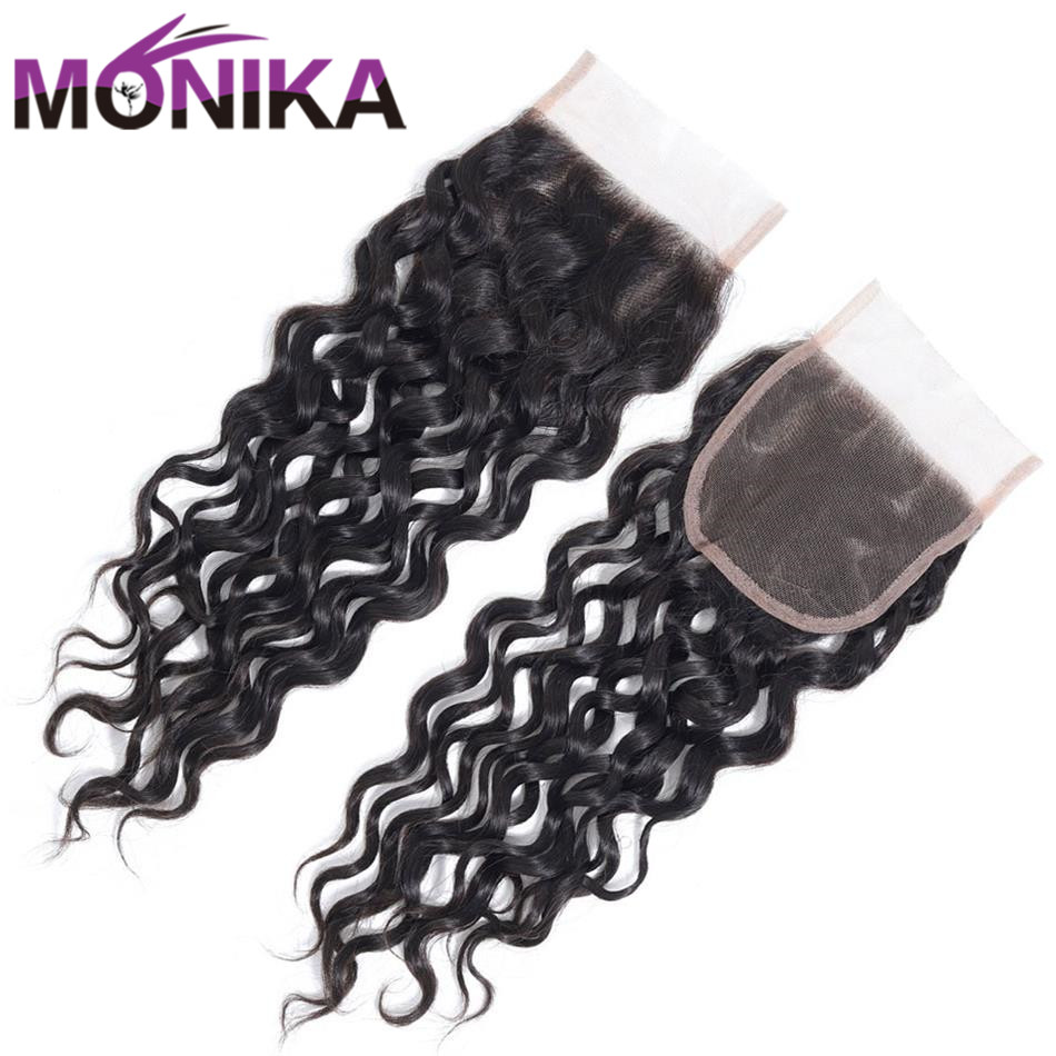 Monika Indian Water Wave Closure 130% Density Hair Closures 100% Human Hair 4x4 Swiss Lace Closure Hair Medium Brown Non Remy