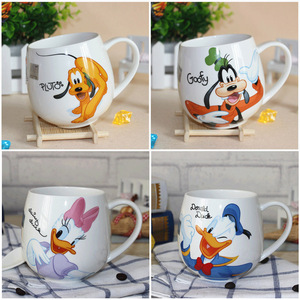 Image 5 - Heißer Disney Kinder 400ML Meter Maus Keramik Tasse Cartoon Muster Donald Duck Goofy Pluto Dame männer Cup Büro kaffee Milch Tassen