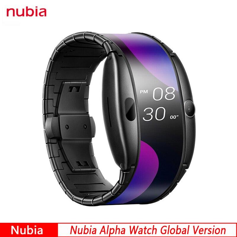 """Original nubia versão global alpha assista 4.01 """"dobrável tela flexível relógio de telefone inteligente pode chamar"""