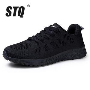 Image 2 - STQ 2020 ฤดูใบไม้ผลิรองเท้าผ้าใบผู้หญิงรองเท้าแบนหญิง Casual LACE up Breathable ตาข่ายรองเท้าผ้าใบผู้หญิงรองเท้าสตรีเดินรองเท้า a08