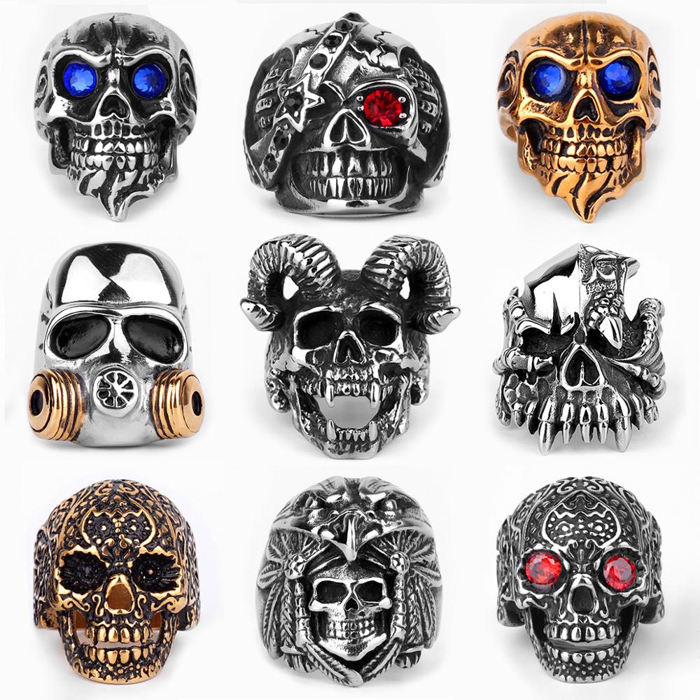 Paslanmaz çelik erkek gotik kafatası yüzükler İskelet Punk Hip Hop altın siyah serin erkek çocuk takı yaratıcılık hediye toptan