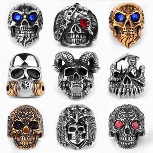 Stainless Steel Men Gothic Skull Rings Skeleton Punk Hip Hop Gold Black Cool For Male Boy Jewelry Creativity Gift Wholesale
