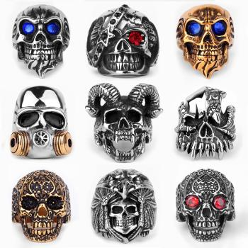 Stainless Steel Men Gothic Skull Rings Skeleton Punk Hip Hop Gold Black Cool For Male Boy Jewelry Creativity Gift Wholesale men s ring rock punk smooth 316l stainless steel black cz gold silver color hip hop rings for men party jewelry wholesale khrm63