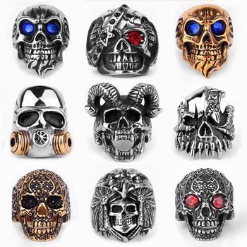 Stainless Steel Men Gothic Skull Rings Skeleton Punk Hip Hop Gold Black Cool For Male Boy Jewelry Creativity Gift Wholesale men s punk skull skeleton bracelet 316l stainless steel link wrist skulls gothic bracelets pulsera calavera jewelry gift