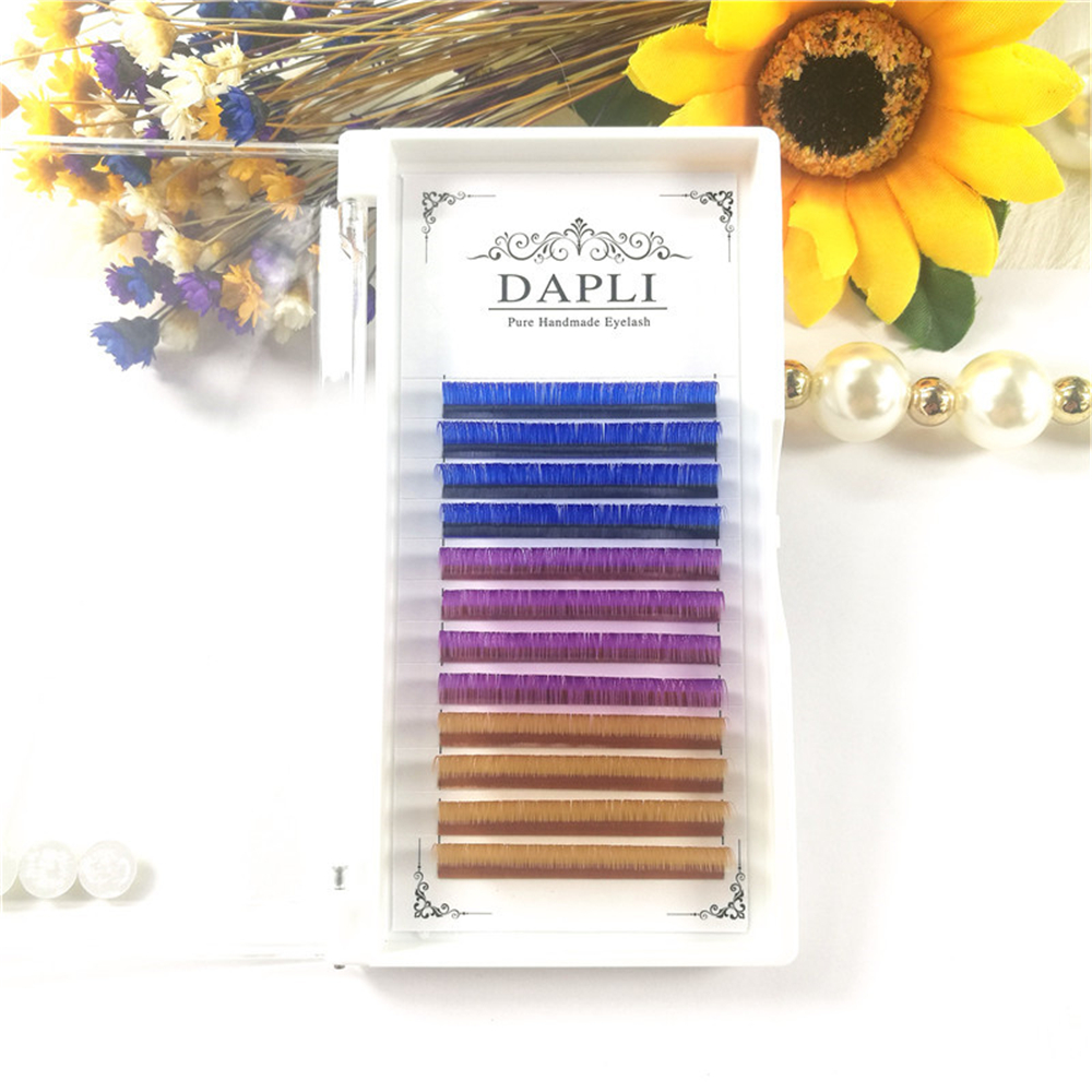 Purple Blue  Ligth Brown Color Individual Premium Faux Mink Soft Eyelashes For Building Line Wimper Extensions