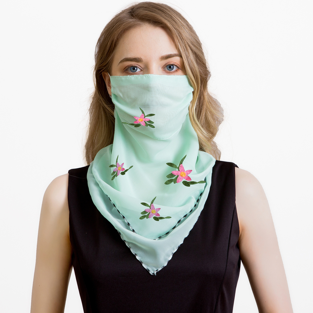 Women Summer Mask Scarf Fashion Wraps Floral Print Lady Silk Neck Scarves Foulard Bandana Chiffon Sun Masks Anti-dust Protect