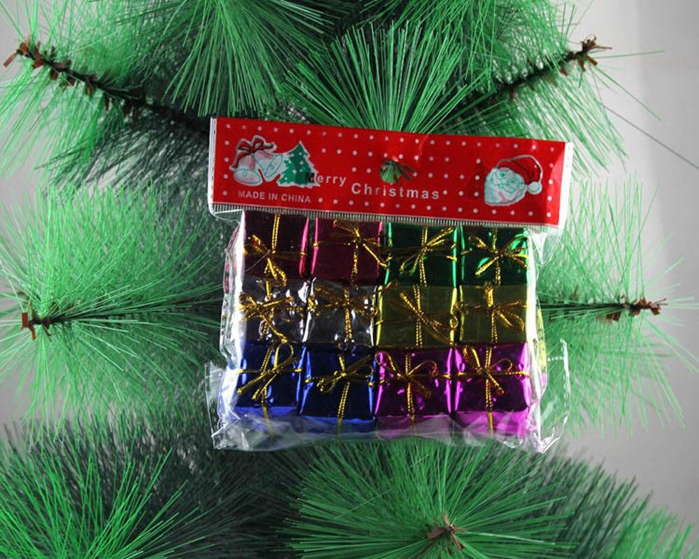 12 pçs mini caixa de presente árvore de natal ornamento decoração de natal para casa papai noel presente brinquedos artesanato mesa deco natal ano novo navio da gota