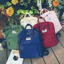 Solid Color Canvas Backpack Women Multifunction Travel Shoulder Bag for Teenage Girls Japanese Style School Laptop BookBag