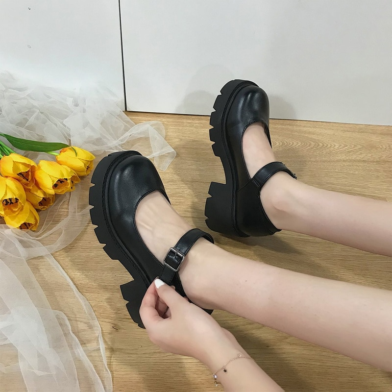Dropship Small Leather Shoes Women 2020 Spring Models Mary  Shoes Women's Japanese High Heels Retro Platform Shoes Women