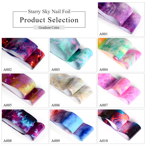 1 Box Nail Foil Sticker Set Holographic Starry Sky Adhesive Wraps Transfer Paper Marble Shining Nail Art Decal Gel Slider Lahore