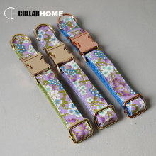 Nylon personalized bow dog collar flower for big small fabric with gold metal buckle tie pet leash straps