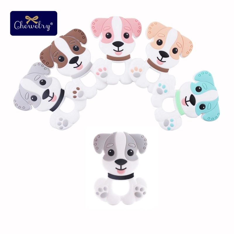 1pc Silicone Baby Teether Dog Tiny Rod Pendant Nursing Necklace Pendant Food Grade Silicone Beads Rodent Baby Bite Toys Bopoobo
