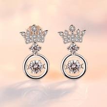 925 Sterling Silver Earrings Crown Moving Inlaid Zircon Ear Studs Temperament Fashion Earrings For Women Simple Ear Jewelry crown ear 400g