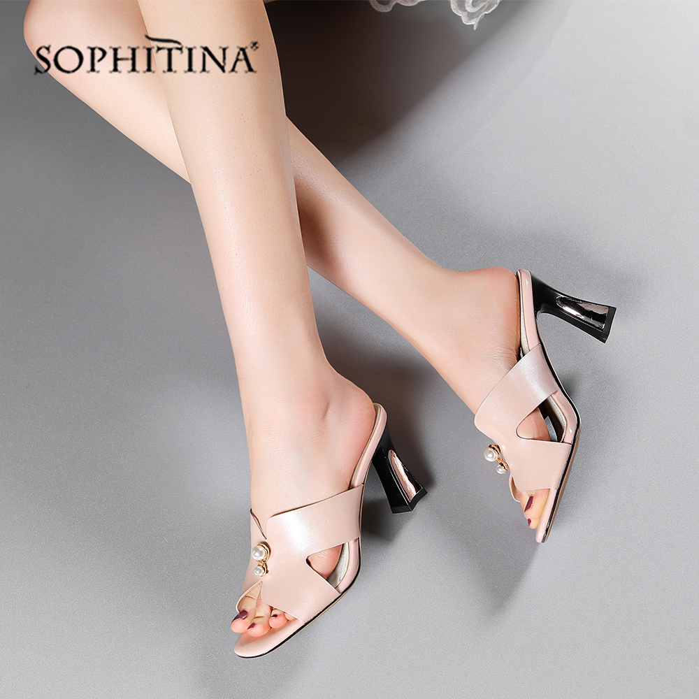 SOPHITINA Fashion Women's Sandals High-Quality Sheepskin Pearl Accessories With Open Toes Shoes Sexy Summer Slipper Women MO496