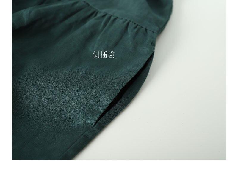 Printemps automne nouveaux arrivants femmes lâche Style japonais Mori fille doux confortable lavé à l'eau 14*14 robes de chemise en lin 4 couleurs - 4