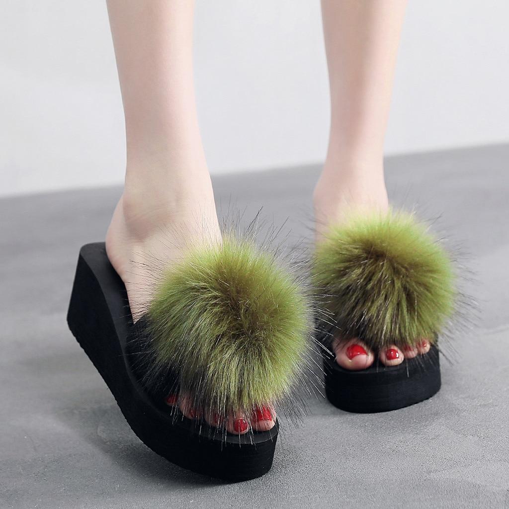 Women Fur Slippers Women Flat Non-Slip Solid Fox Fur Slides Real Fox Hair Slides Large Size Slippers Drop Shipping,Dark Purple,6