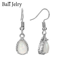 BaliJelry kolczyki damskie ze srebra próby 925 biżuteria akcesoria kropla wody kształt Opal kolczyki z kamieniami szlachetnymi na ślub zaręczyny hurtowych