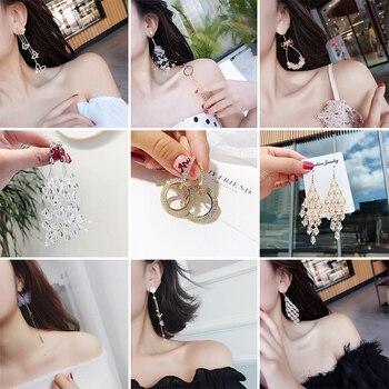 Pendientes largos coreanos con diseño de flor, lazo, borla y corazón de 32 estilos para mujer YEA262