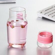 Borraccia in vetro donna coperchi rosa Bottiglie Di Acqua Waterflessen la mia bevanda bottiglia d'acqua Bottiglie carine trasparente Q