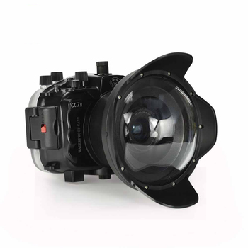 """40M/130FT for Sony A7 II NG Series A7S A7R Mark II Underwater camera housing diving case with 6"""" Dome port (Standard port) Black"""