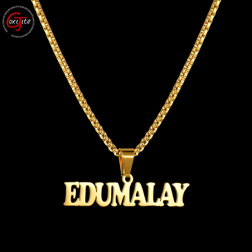 Goxijite 2019 Fashion Customized Stainless Steel Big Name Necklace For Women Men Personalized Letter Gold Necklace Pendant Gift