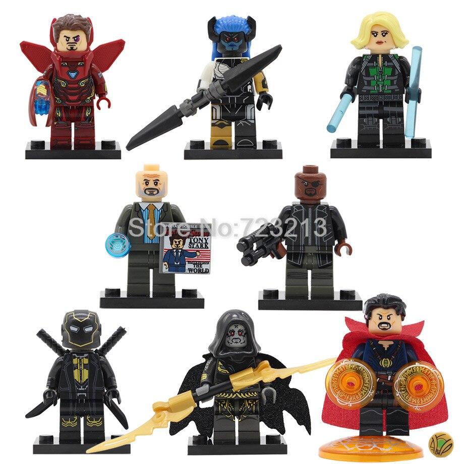 Super Hero Avengers Nick Fury Figure Obadiah Stane Iron Man Doctor Strange Corvus Glaive Building Blocks Sets Models Brick Toys