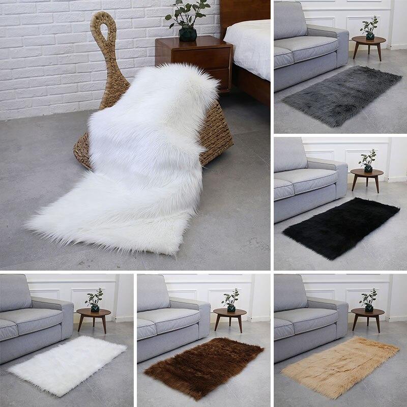 Laine tapis tapis sol moelleux tapis luxueux anti-dérapant chaud Rectangle multicolore 180X100cm maison chaise tapis chambre canapé - 5