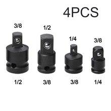 Adaptador de Llave de trinquete, juego de llaves, convertidor de unidad reductora, proceso de electroforesis, herramientas negras, 1/4, 3/8, 1/2, 4 Uds.