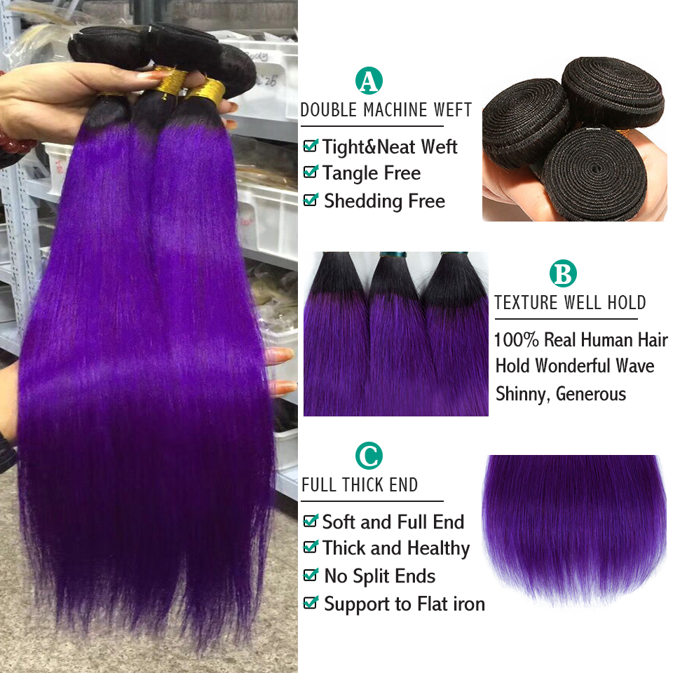 SEXAY Purple Brazilian Hair Weave Bundles Pre Colored Two Tone Straight Hair Extensions Ombre Human Hair Bundles With Closure (2)