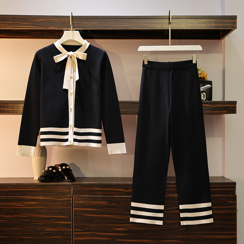 Women's Striped Sweater, Suit, Sets, Knitted Cardigans, Trousers, Set, Tracksuit, Bow Tie, Collar, Sweater, Top + Wide Pants, 2-