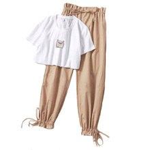 Комплект из двух предметов летняя одежда для женщин новинка 2019 dresy damskie модные повседневные широкие брюки футболка с принтом Женский комплект 2 шт