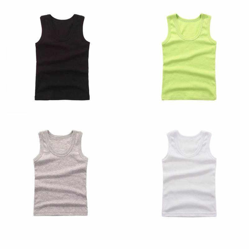 Meninos Colete de Verão Crianças Roupa Interior de Algodão do bebê Meninas Camisas Undershirts Camisola Do Bebê Para Crianças
