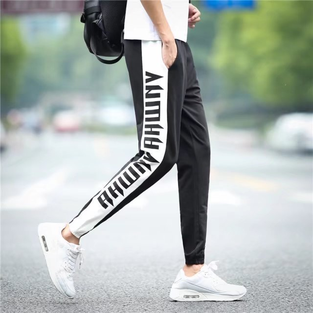 Summer MEN'S Pants Casual Pants BOY'S Athletic Pants Korean-style Trend Harem Skinny Capri Pants Thin Ankle Banded Pants