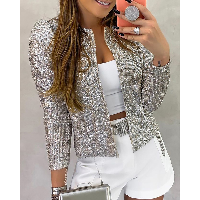 2020 Fashion Sequin Jackets Women Glitter Long Sleeve Short Coats Elegant Spring Outwear Office Ladies Solid  Streetwear SJ5581V