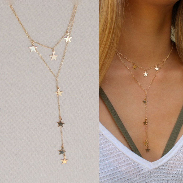 simple classic 925 sterling silver women jewelry double layer star charm choker lariat necklace