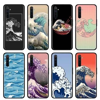 Перейти на Алиэкспресс и купить Тонкий чехол для телефона Realme X50 Pro, чехол для телефона Realme X50 Pro, X2, X2Pro, XT, C3, 5i, 6i, 6, 5 Pro, Narzo, 10, 10A, Hokusai The Great Wave