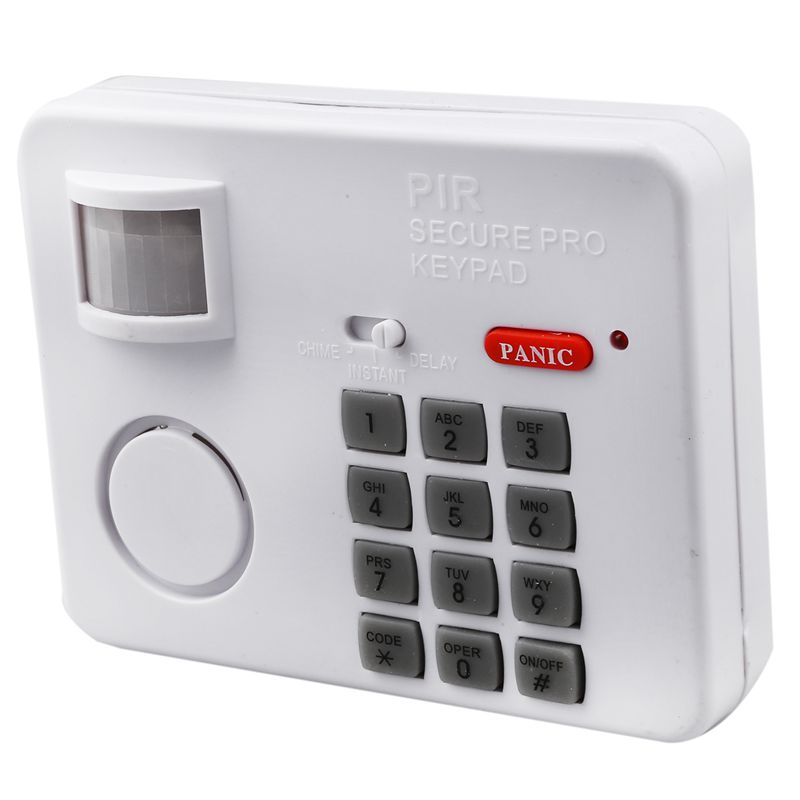 Wireless Motion Sensor Alarm With Security Keypad PIR Home Garage Shed Caravan White