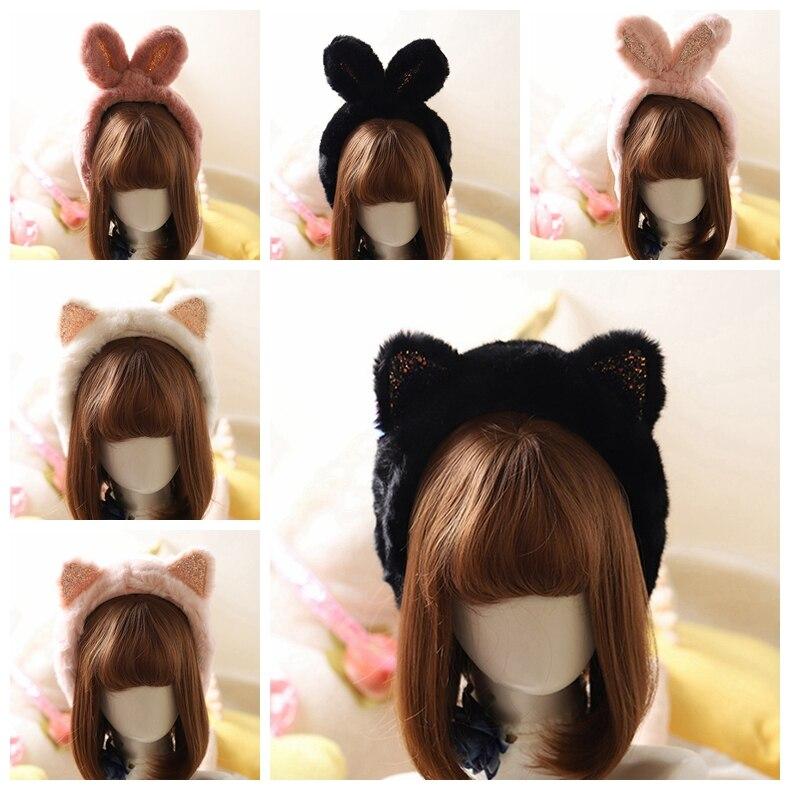 Lolita Winter Ear Warmer Earmuffs Sequins Rabbit Cat Ear Muffs Ear-flap Headband