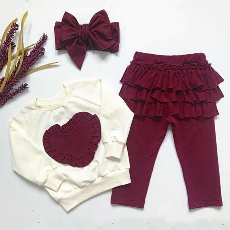 Imcute 3PCS Toddler Kids Baby Girl Clothes Set For Autumn Long Sleeve Cotton Sweatshirt Tops Pants Headband Clothing Outfits