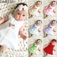 Newborn Baby Dress Summer Girls Sleeveless Bow Clothes Toddler Kids Lace Formal Party Princess Dress+Hairbands 2Pcs Girl Dress baby girl clothes princess dress clothes short sleeve lace bow ball gown tutu party dress toddler kids fancy dress 0 7y