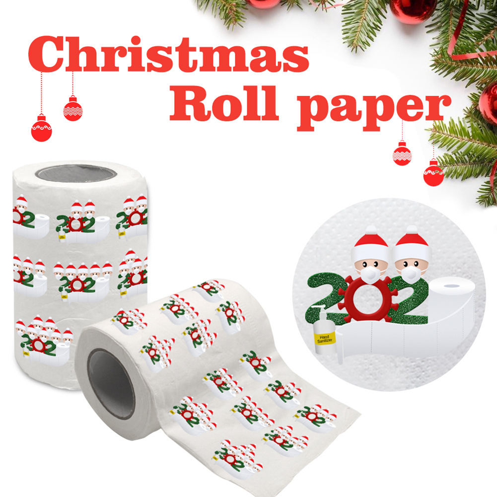 Merry Christmas Supplies Printed Toilet Paper Home Bath Living Room Toilet Paper Tissue Roll Xmas HJL2019