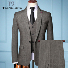 Suits Tuxedos Blazers Business-Suit Groom Slim-Fit Tian Qiong Mens 3pieces Best's Brand