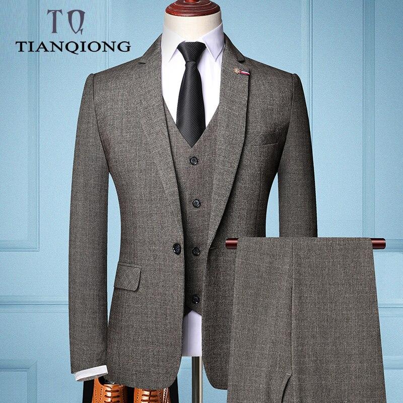 TIAN QIONG Brand Fashion Men 's Slim Fit Business Suit Men Fashion 3 Pieces Mens Blazers Tuxedos Suits Groom Best Wedding Suits