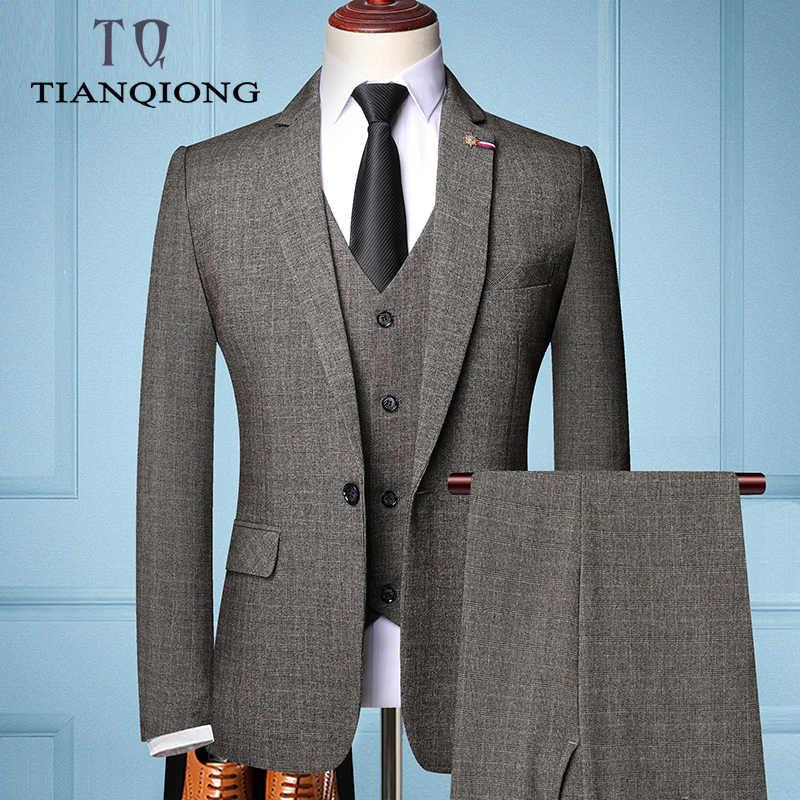 Tian qiong marca de moda masculina fino ajuste terno de negócios masculino moda 3 peças masculino blazers smoking ternos do noivo melhores ternos de casamento