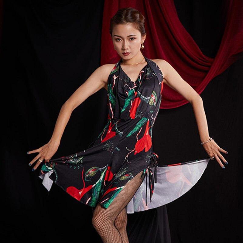 Latin Dance Dress Female Adult Sexy Sleeveless Fashion Print Dresses Tango Cha Cha Rumba Samba Salsa Performance Wear DNV12265