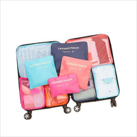 6 PCS Reizen Opbergtas Set Voor Kleding Tidy Organizer Garderobe Koffer Pouch Travel Organizer Bag Case Schoenen Verpakking Kubus tas