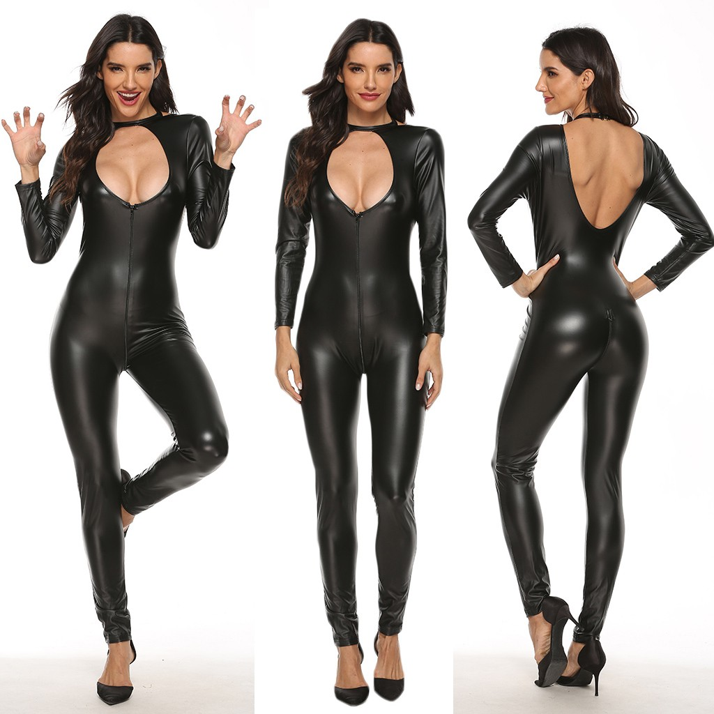 Porn Crotchless Bodysuit Women Leather Zipper Sexy Lingerie Hollow Out Erotic Lenceria Sexy Babydoll Clubwear Catsuit Sex Corset